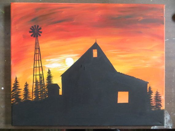 Barn And Windmill Silhouette At Sunset Painting By Paintandknit316