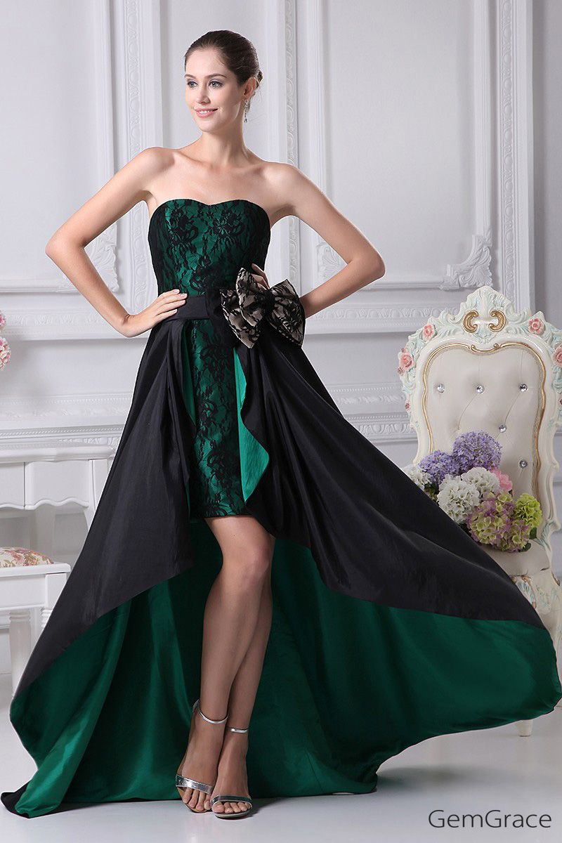 164 90 Black And Hunter Green Strapless Lace Bow Wedding Dress In Short Front Long Back Op4241 165 2 Gemgrace Com Prom Dresses Taffeta Green Prom Dress Dark Green Prom Dresses [ 1200 x 800 Pixel ]