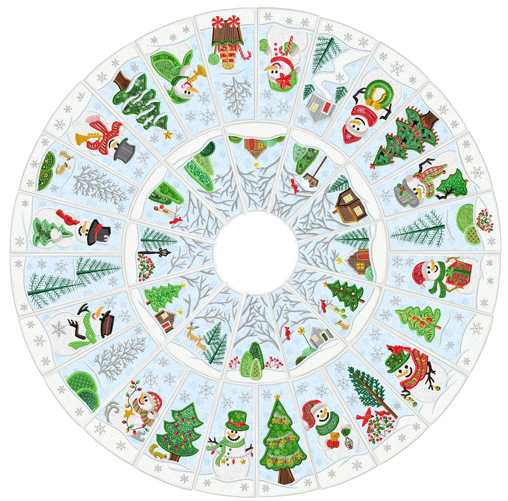 Snowman Christmas Tree Skirt Machine Embroidery Christmas Machine Embroidery Designs Projects Christmas Tree Skirts Patterns