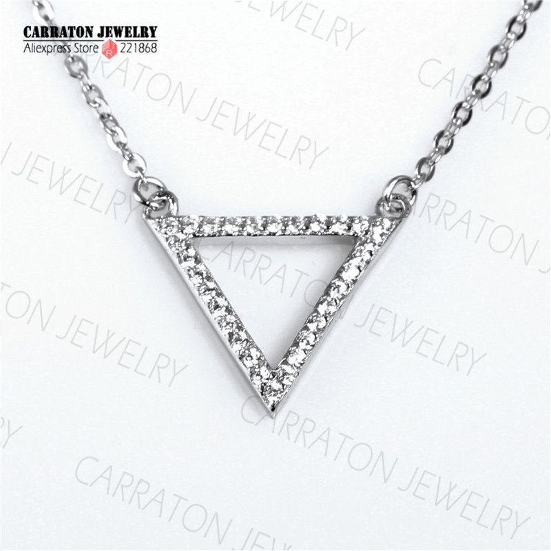 sterling cubic pin necklace zirconia pendant silver design simple real shaped with cz triangle