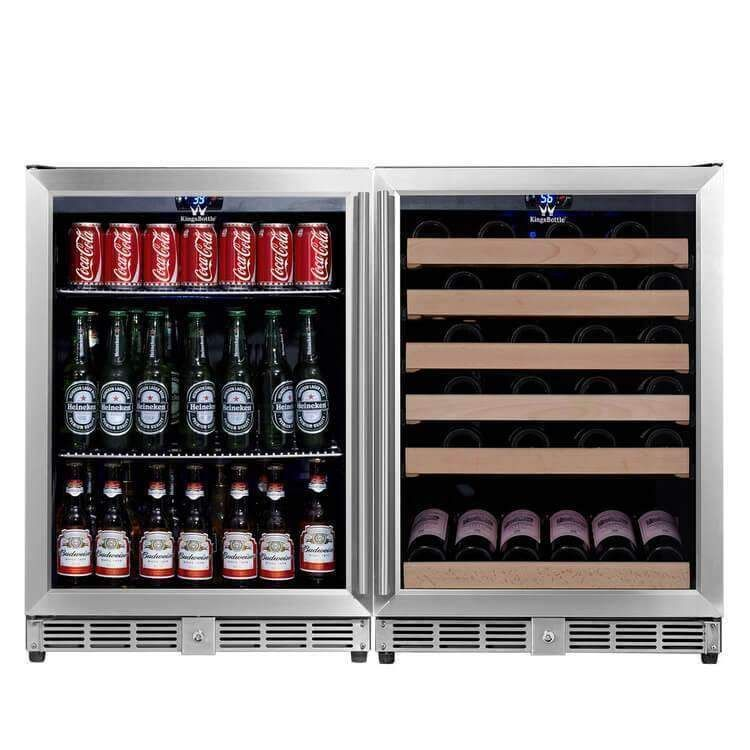 48 Inch Glass Door Side By Side Wine And Beverage Cooler Combo Wine Coolers Drinks Built In Wine Cooler Beverage Cooler