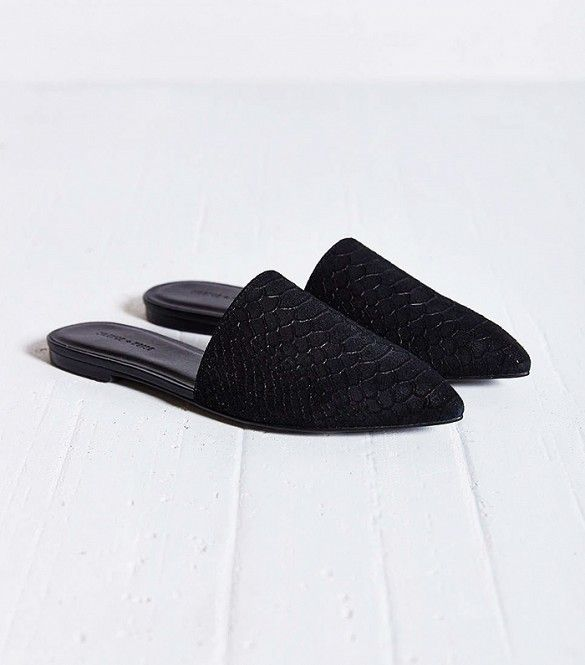 59cb43f1d Silence + Noise Pointy Toe Slides in Black // Black pointy toe slides