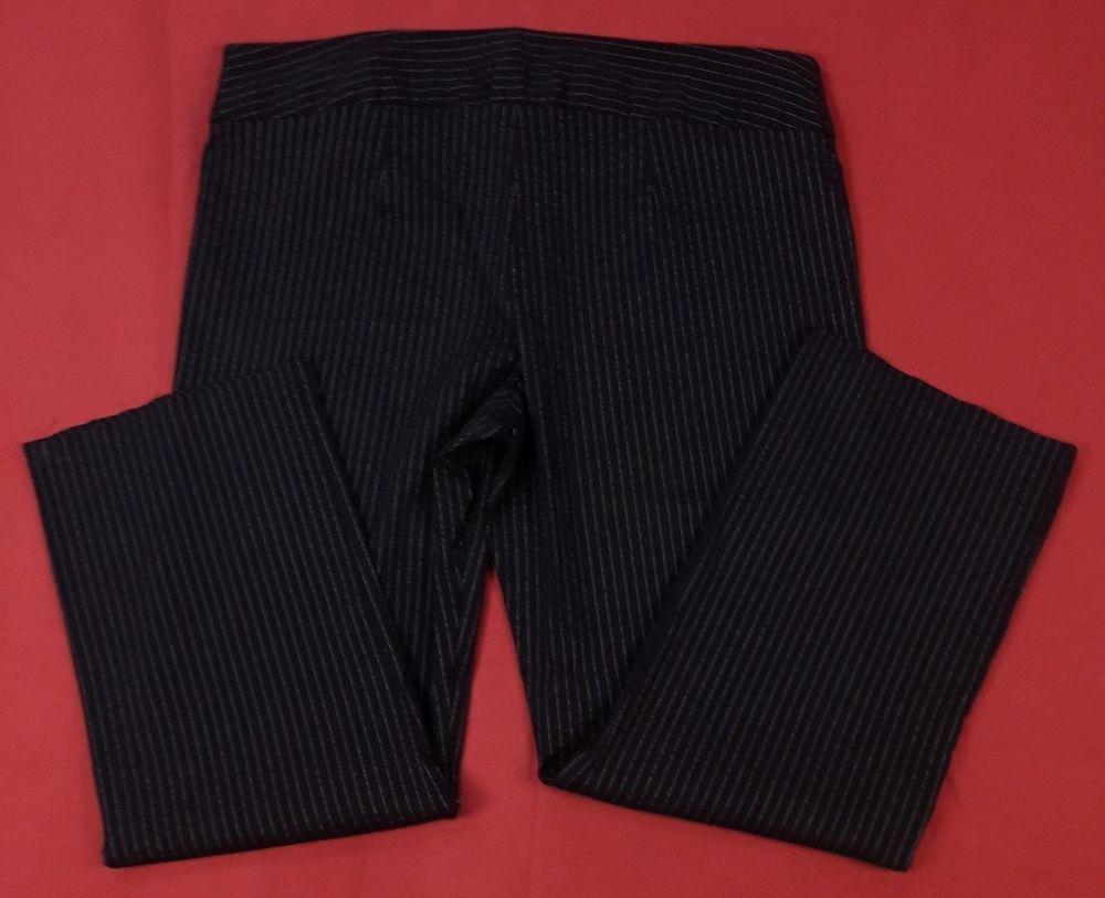 Womens Striped Black Slacks Plus 24W Stretch Wide Leg Career Work Pants Trousers #FashionBug #DressPants