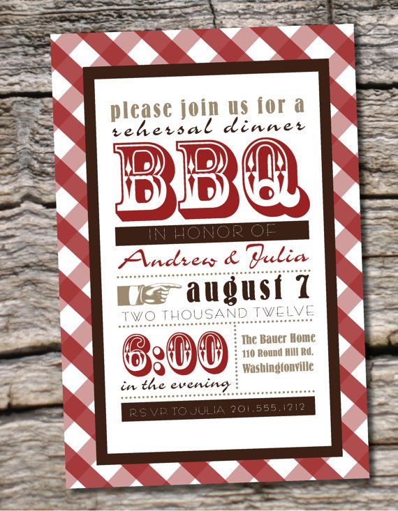 Gingham Poster BBQ Barbeque Engagement Party \/ Rehearsal Dinner - printable dinner invitations