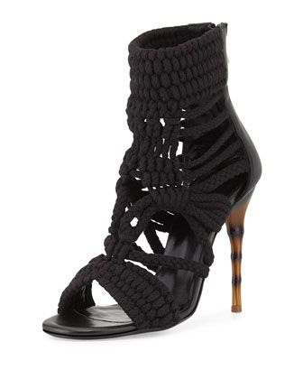 Macrame Bamboo-Heel Sandal, Black by Balmain at Neiman Marcus.