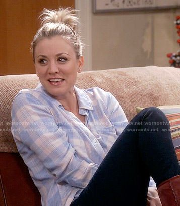 Penny's pink and blue plaid shirt on The Big Bang Theory.  Outfit Details: http://wornontv.net/55053/ #TheBigBangTheory