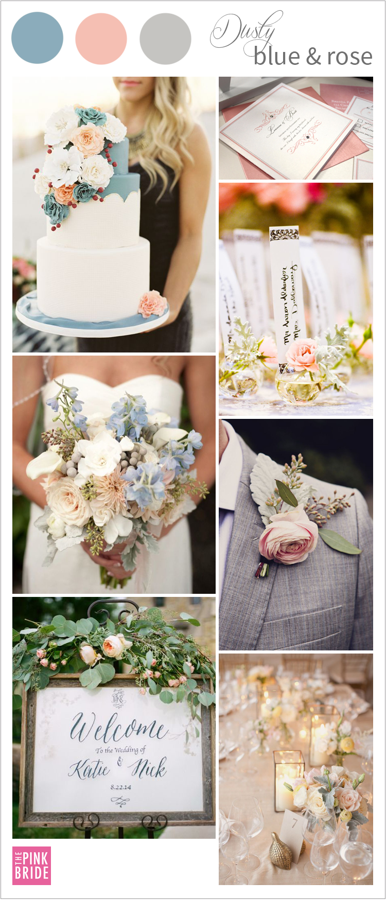 58cc663cc778 Love this dusty blue wedding and dusty rose wedding color board  inspiration!