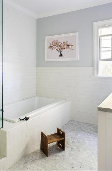 Floor Tile And Half Wall With Tile Marble Tile Bathroom Tile