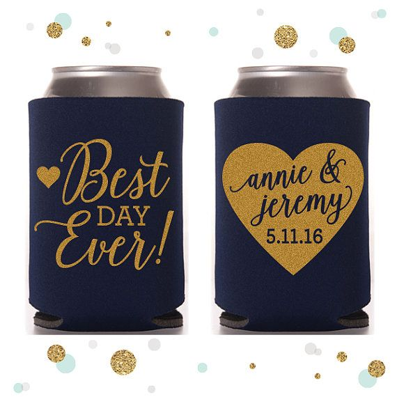 Best Day Ever  Heart  Wedding Can Cooler 41  by SycamoreStudiosCa