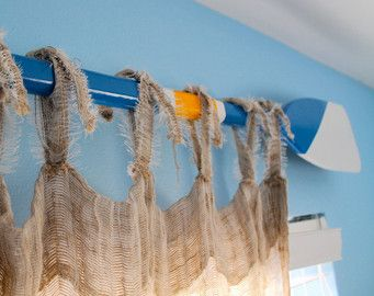 Custom Nautical Painted Oar Decorative Window Curtain Rod Valance Or Wall Decor Paddle