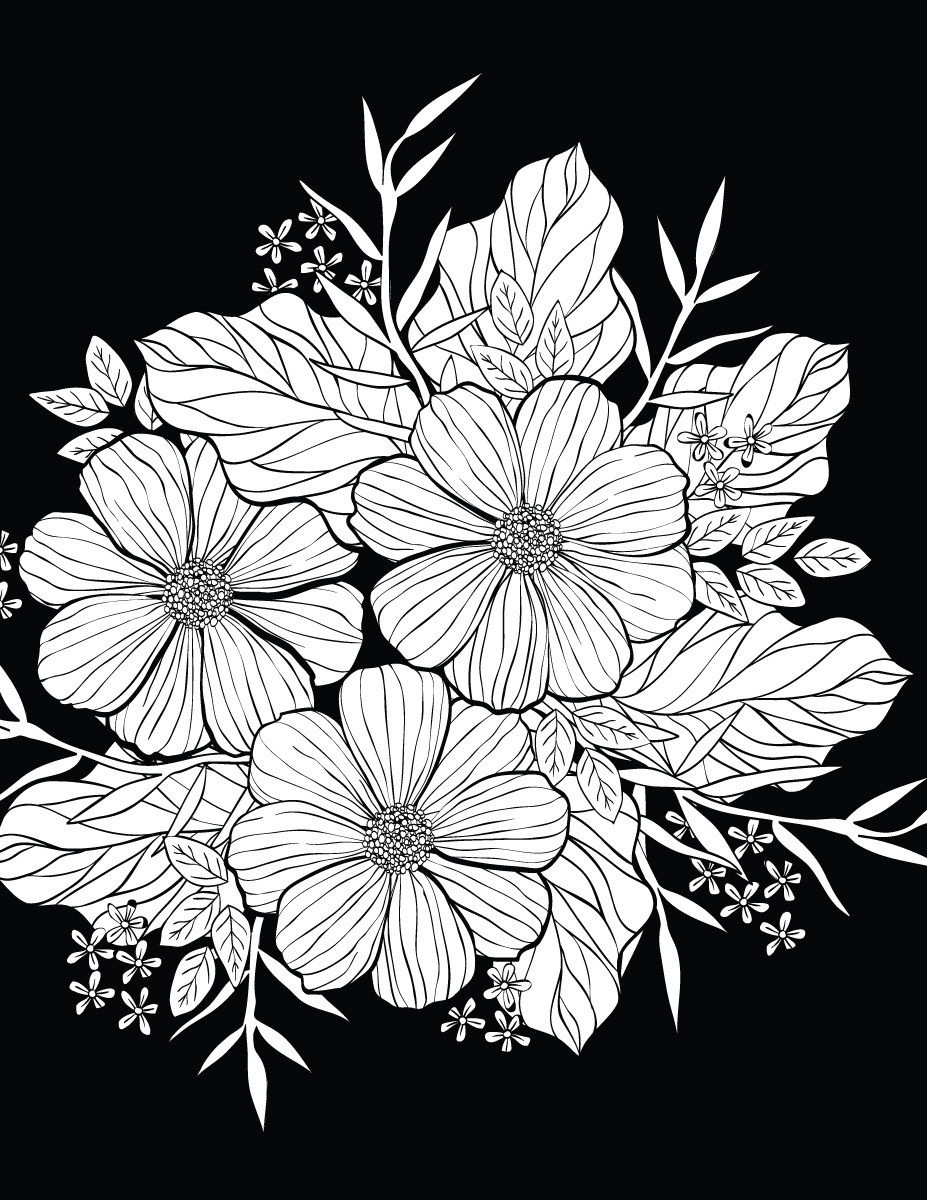 Pin On Coloriage De Nuit Black Background Coloring Page