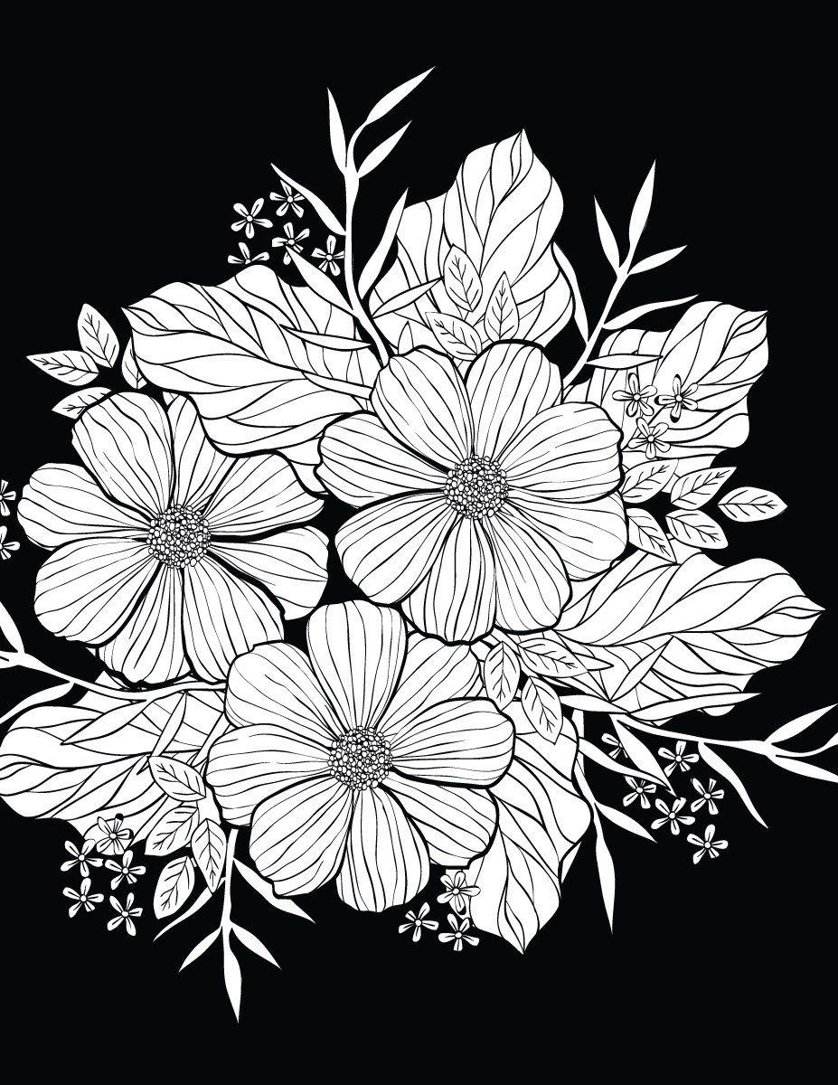 Petites fleurs avec background noir à colorier coloring