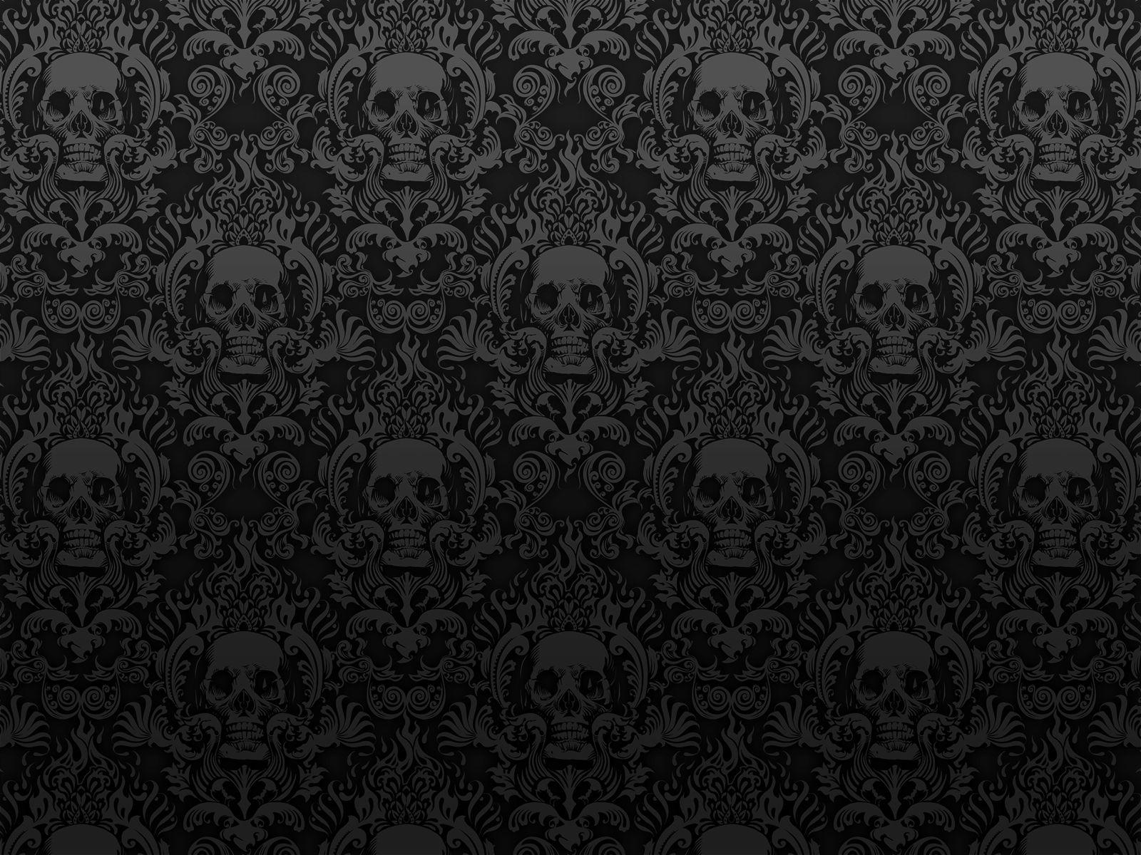 Damask Wallpaper Skull Black Dark Photoshop Photography Misc