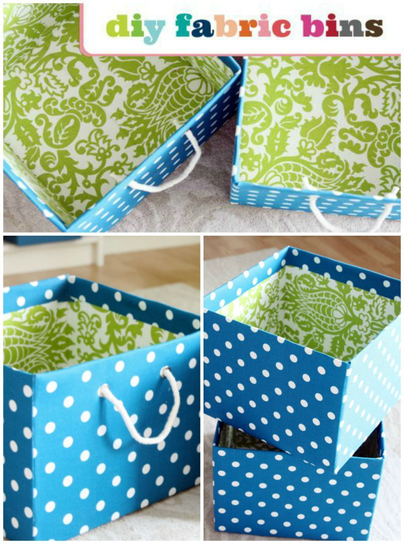 StepbyStep How To Cover Storage Boxes in Fabric. Diy
