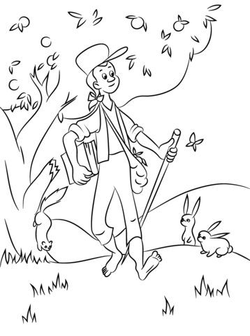 Johnny Appleseed With Animals Coloring Page From Frontier Life Category Select From 31479 Apple Coloring Pages Cartoon Coloring Pages Coloring Pages For Kids