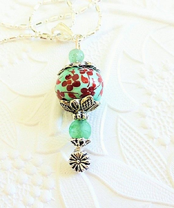 "Green Floral Beaded Lampwork Necklace  with your choice of 18"", 22"" or 24"" Silver Plated Chain, Statement Piece, Step in Spring, Glass Art by uBuNEEKBoutique on Etsy"