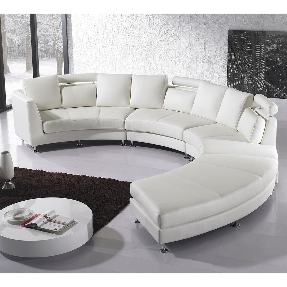 beliani rotunde white modern design round leather sectional by velago leather sectional and. Black Bedroom Furniture Sets. Home Design Ideas