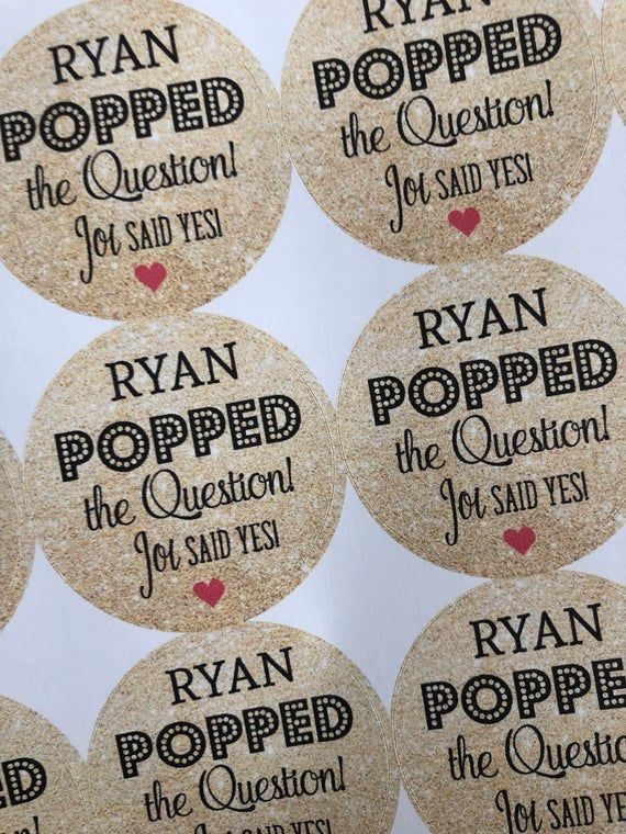 Bachelorette Stickers, He Popped the Question, Wedding Stickers, Wedding Favors, Custom Stickers, We