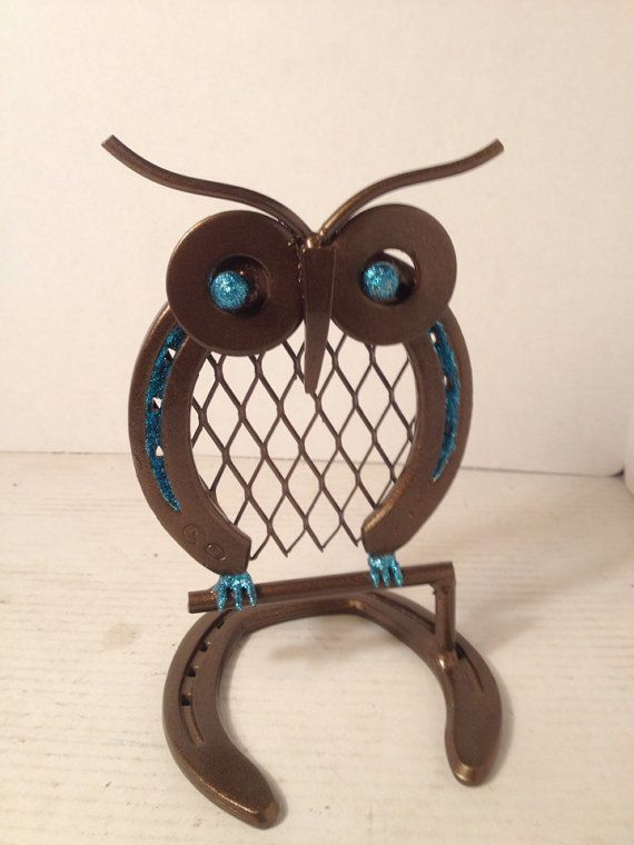 Metal Owl made from horseshoes