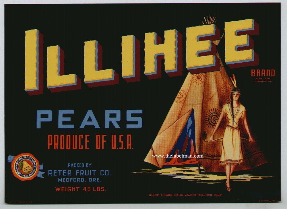 Illihee vintage medford oregon pear crate label indian