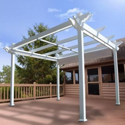 Weatherables Palmetto 12 Ft X 12 Ft White Double Beam Vinyl Pergola With Shade Canopy Ywpg Hdbfx5 12x12 The Home Depot Pergola Vinyl Pergola Pergola Shade
