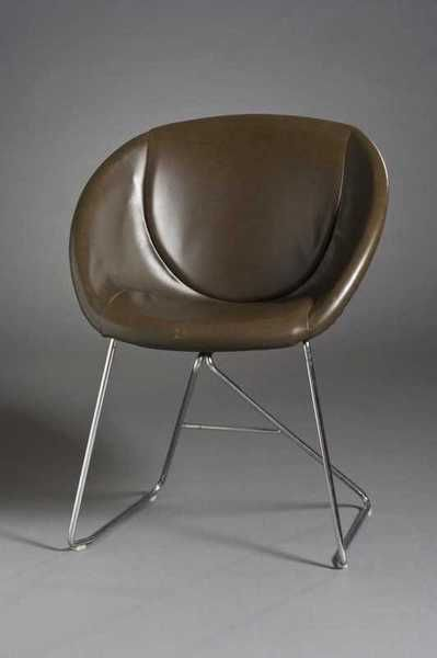 Sven Ivar Dysthe; Leather and Chromed Metal 'Popcorn' Stacking Chair, c1967.