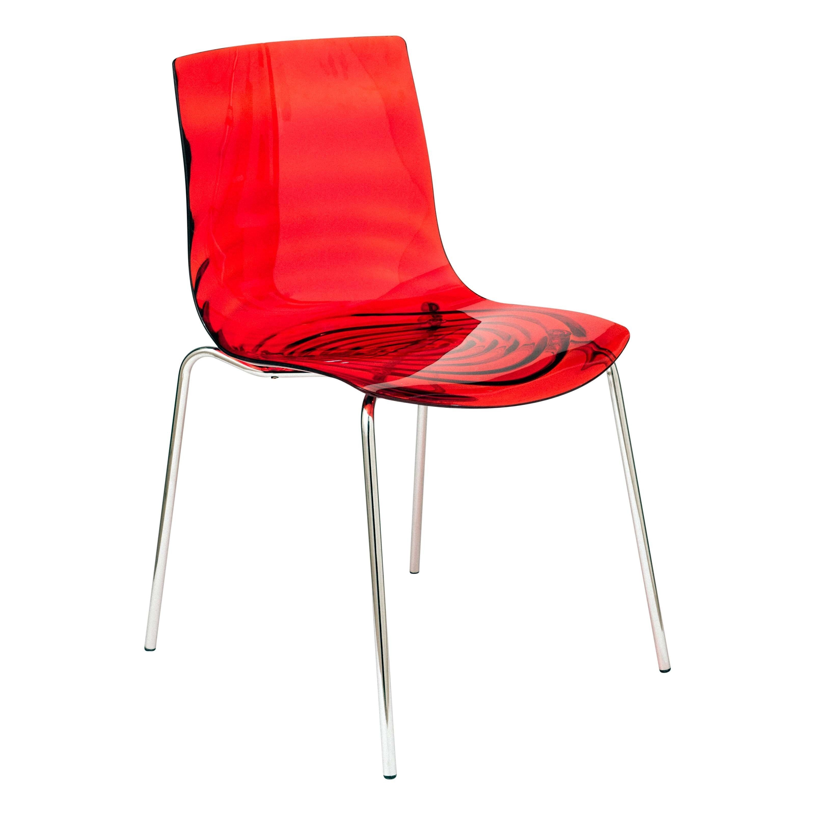 Red modern chairs - Leisuremod Modern Astor Polycarbonate Transparent Red Dining Chair By Leisuremod