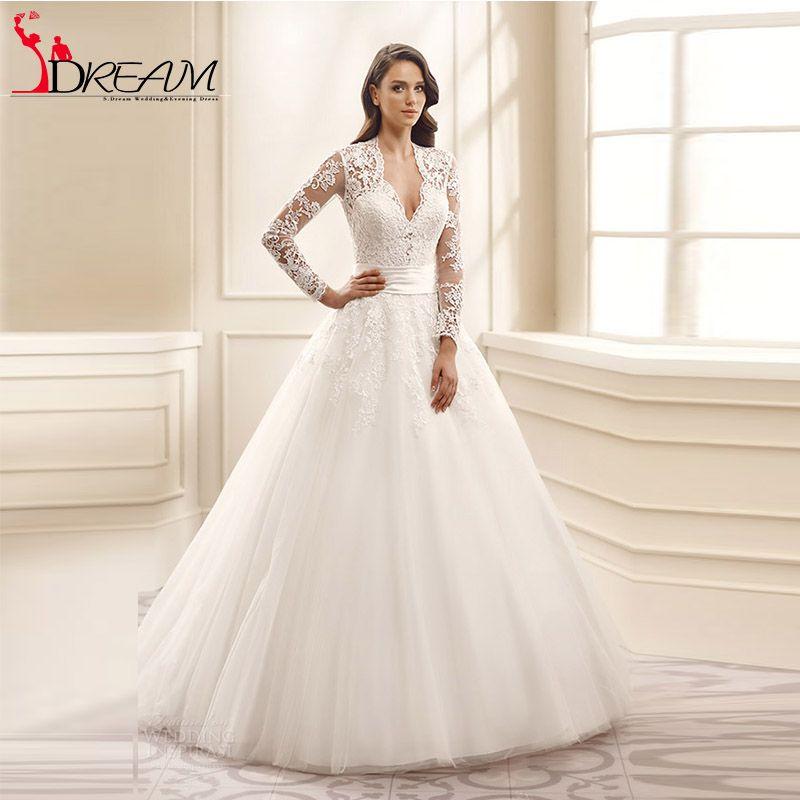 Romantic Long Sleeve Lace Wedding Dresses 2016 illusion V neck Puffy Appliques Tulle Vintage Bride Dresses vestido de noiva