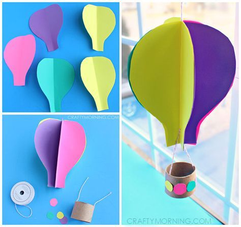 3D Spinning Hot Air Balloon Craft Template