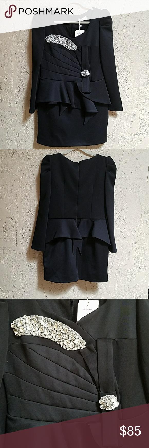 Vintage fancy black dress with rhinestones nwt vintage dresses
