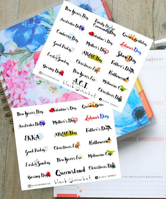 Australian Public Holidays Planner Stickers - Erin Condren Vertical,  MulberryPOP Vertical etc