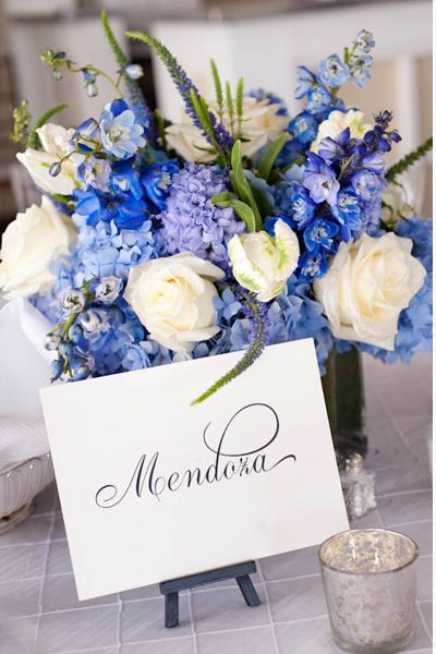 Blue White Purple Centerpiece With Images Blue Wedding
