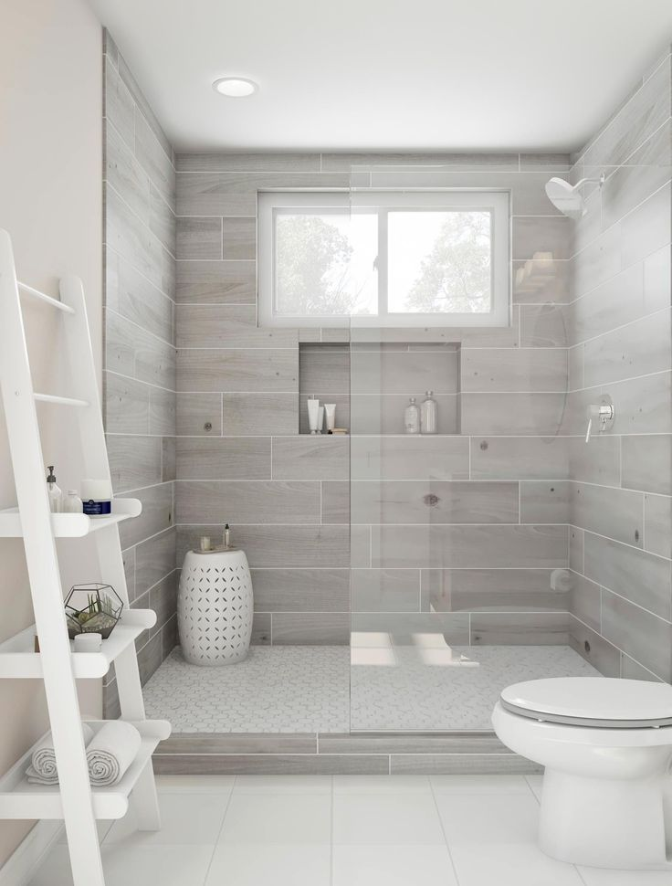 Photo of Enjoy this beautiful walk-in shower. Ash gray tiles and a Roman … # …