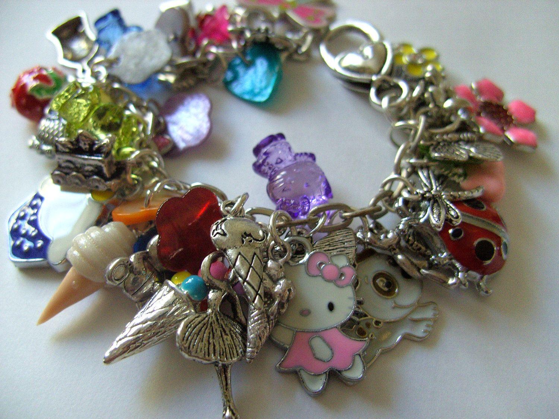Girls Childrens Jewellery Loaded Charm Bracelet Heart Ladybird Butterfly By NewellsJewels On