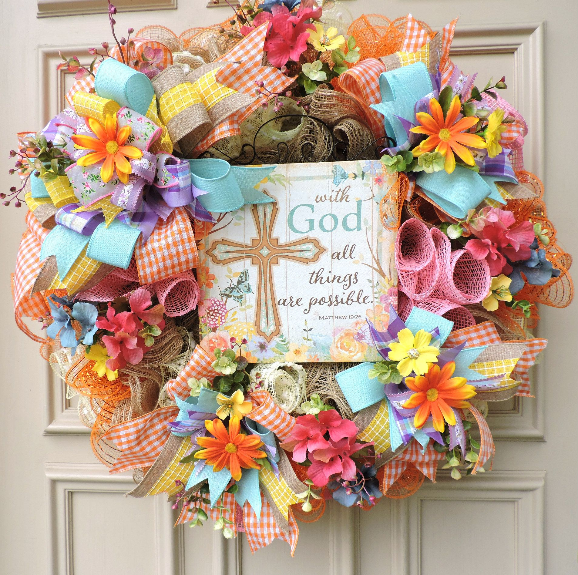 Christmas Faith Nativity Door Hanger Home Decor Winter Wreath Jesus