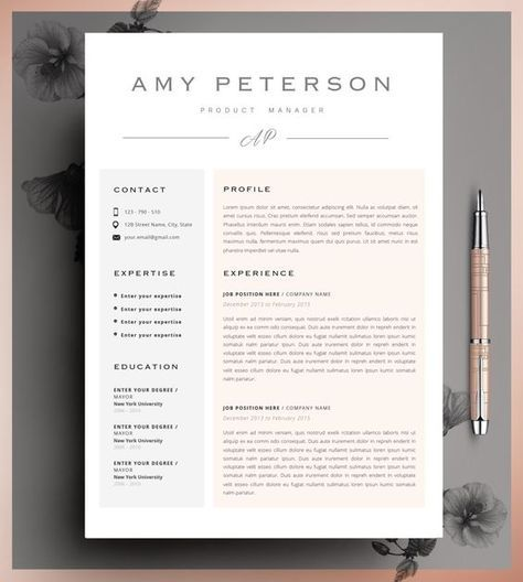 creative resume template cv template instant download editable in ms word and pages cover letter size a4 and us letter