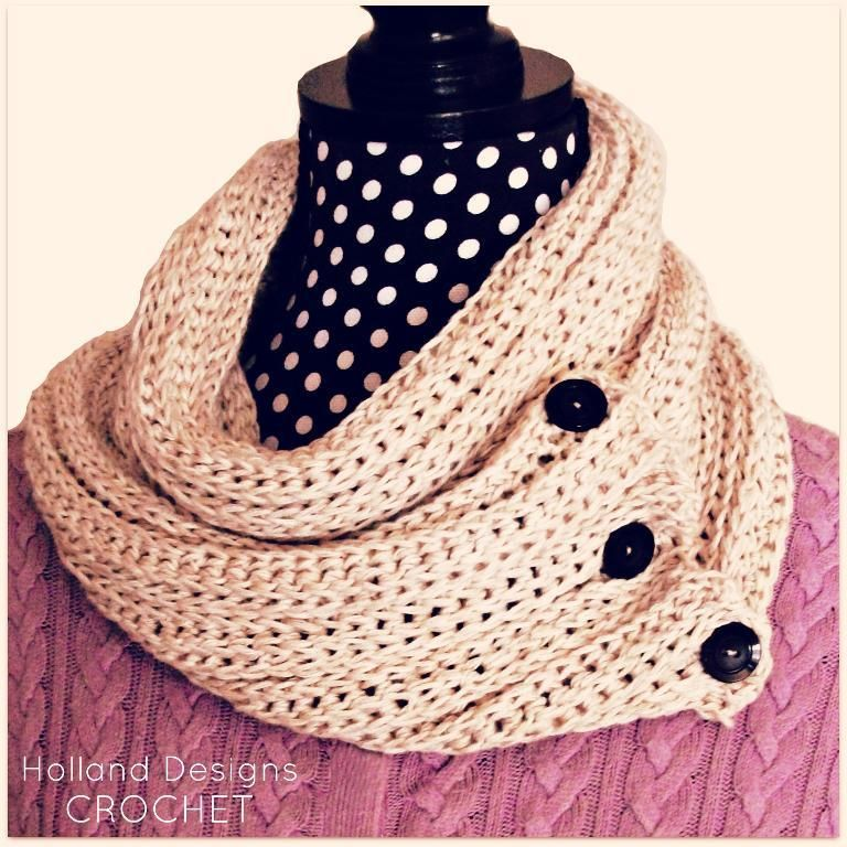 Knit Look Crocheted Cowl Scarf Cowl Scarf Scarves And Crochet