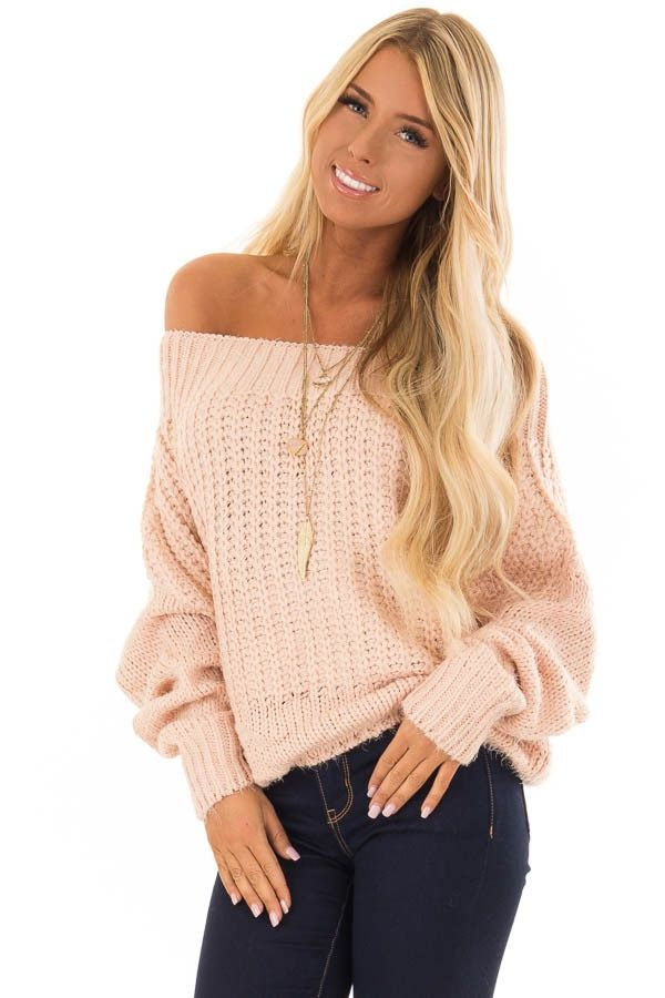 f9883e1125e3e Get your boutique off shoulder top from Lime Lush today. Light Mauve Off  the Shoulder Long Sleeve Sweater front close up