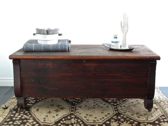 Vintage Wood Cedar Chest with Hinged Top Cedar Chest Wood Bench