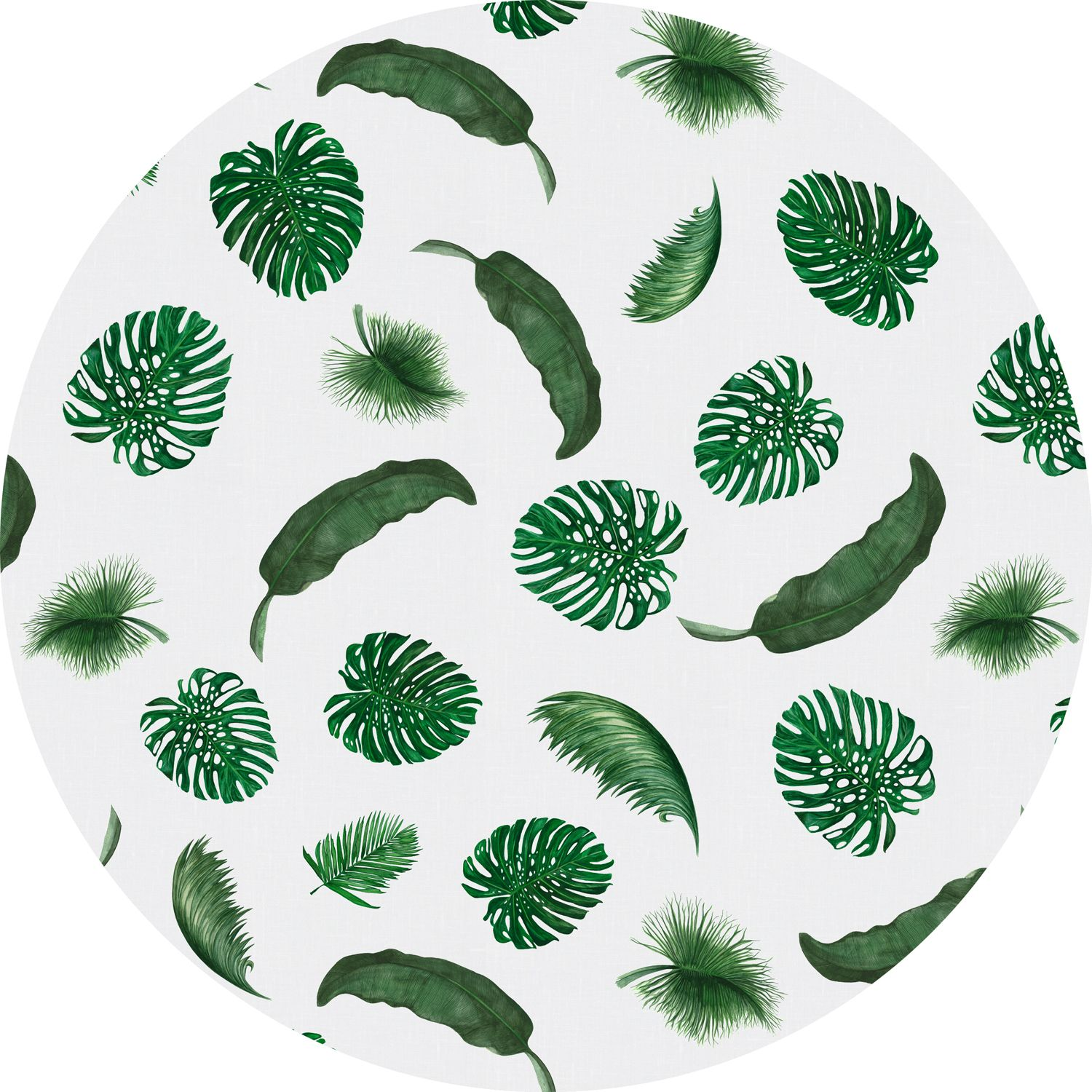 Huddleson Linens   Tropical Leaves White Round Linen Tablecloth   Monstera  Banana Palm Unique Printed Table