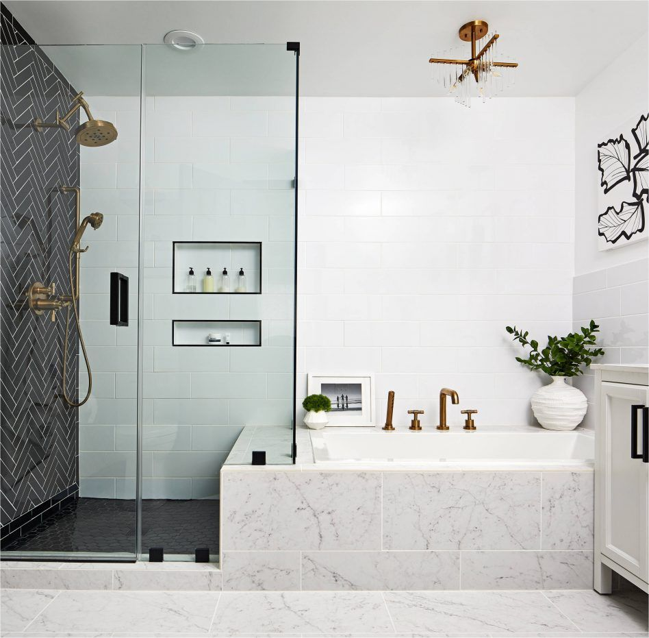 3x12 White Tile Herringbone Accent Wall: Transitional Master Bathroom Remodel Black Herringbone