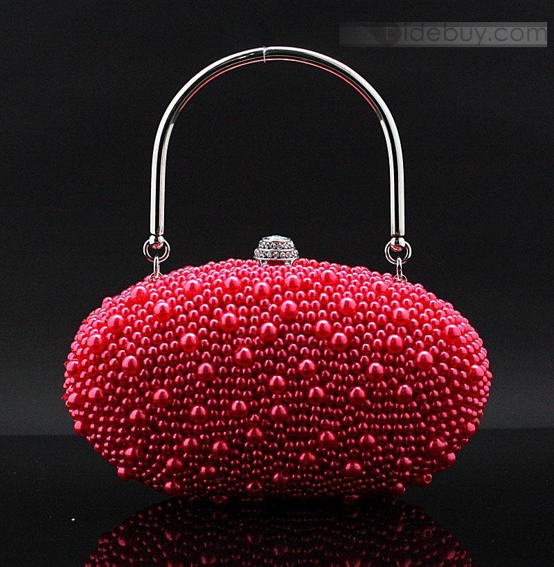 Luxurious Egg Shaped Lady's Evening/wedding Pearls HandbagLuxurious Egg Shaped Lady's Evening/wedding Pearls Handbag