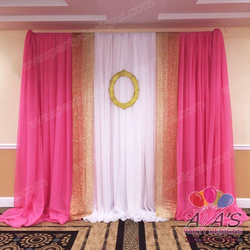 pink and gold party focal point | Pink Gold and White Fabric ...