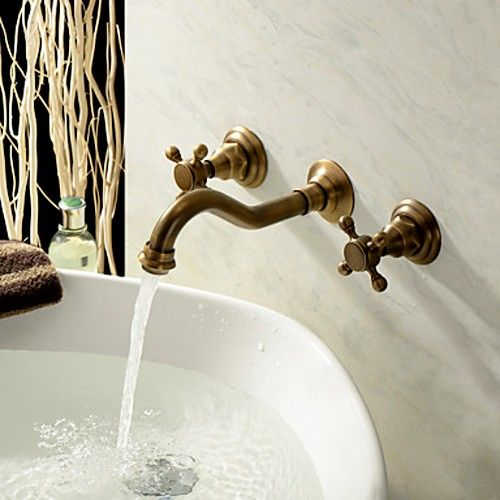 Really Into This Antique Brass Wall Mount Sink Faucet Classic And