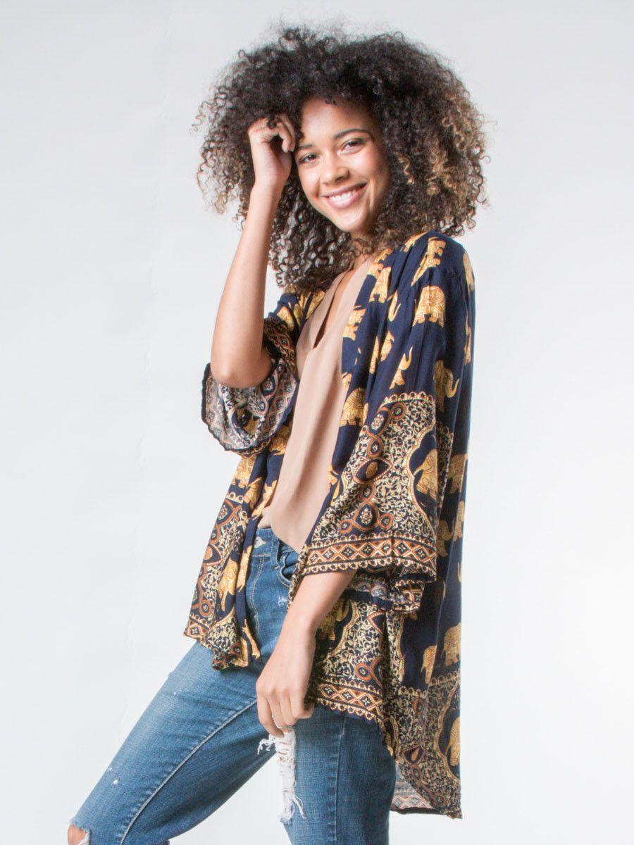 Tyke Elephant Kimono Cardigan | Kimonos, Net profit and Navy