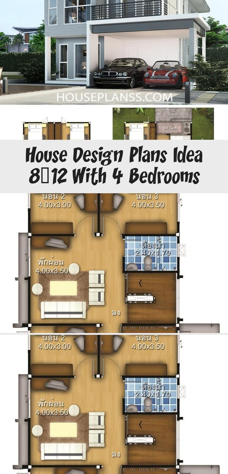House Design Plans Idea 8x12 With 4 Bedrooms Home Ideassearch Floorplans4bedroombungalow Floorplans4bed In 2020 Home Design Plans House Design Floor Plan 4 Bedroom