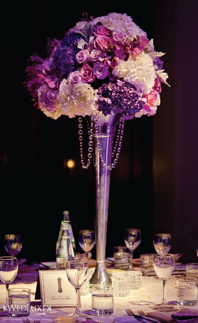 Purple floral centerpieces modern wedding ideas