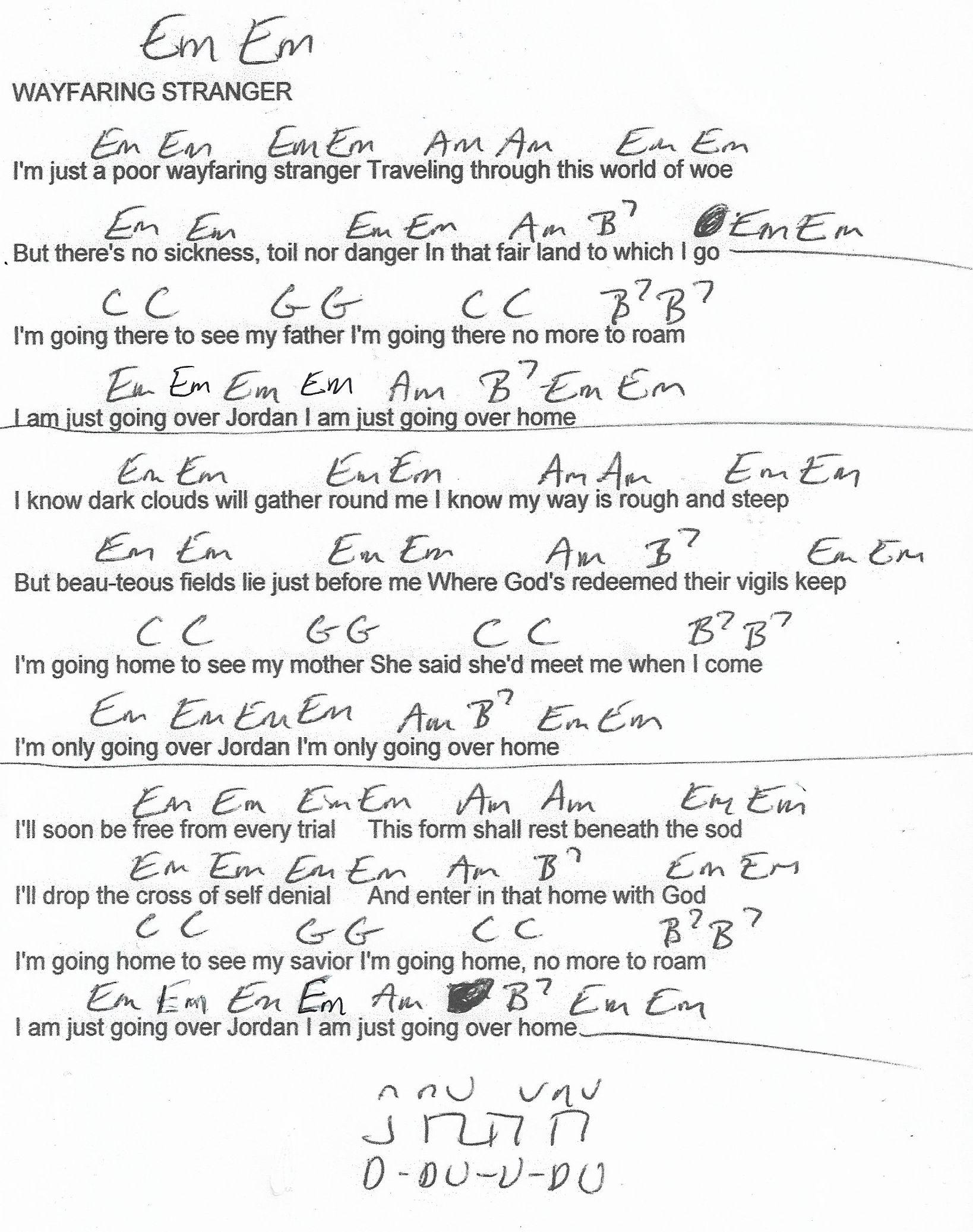 Wayfaring Stranger Traditional Guitar Chord Chart In Em Guitar