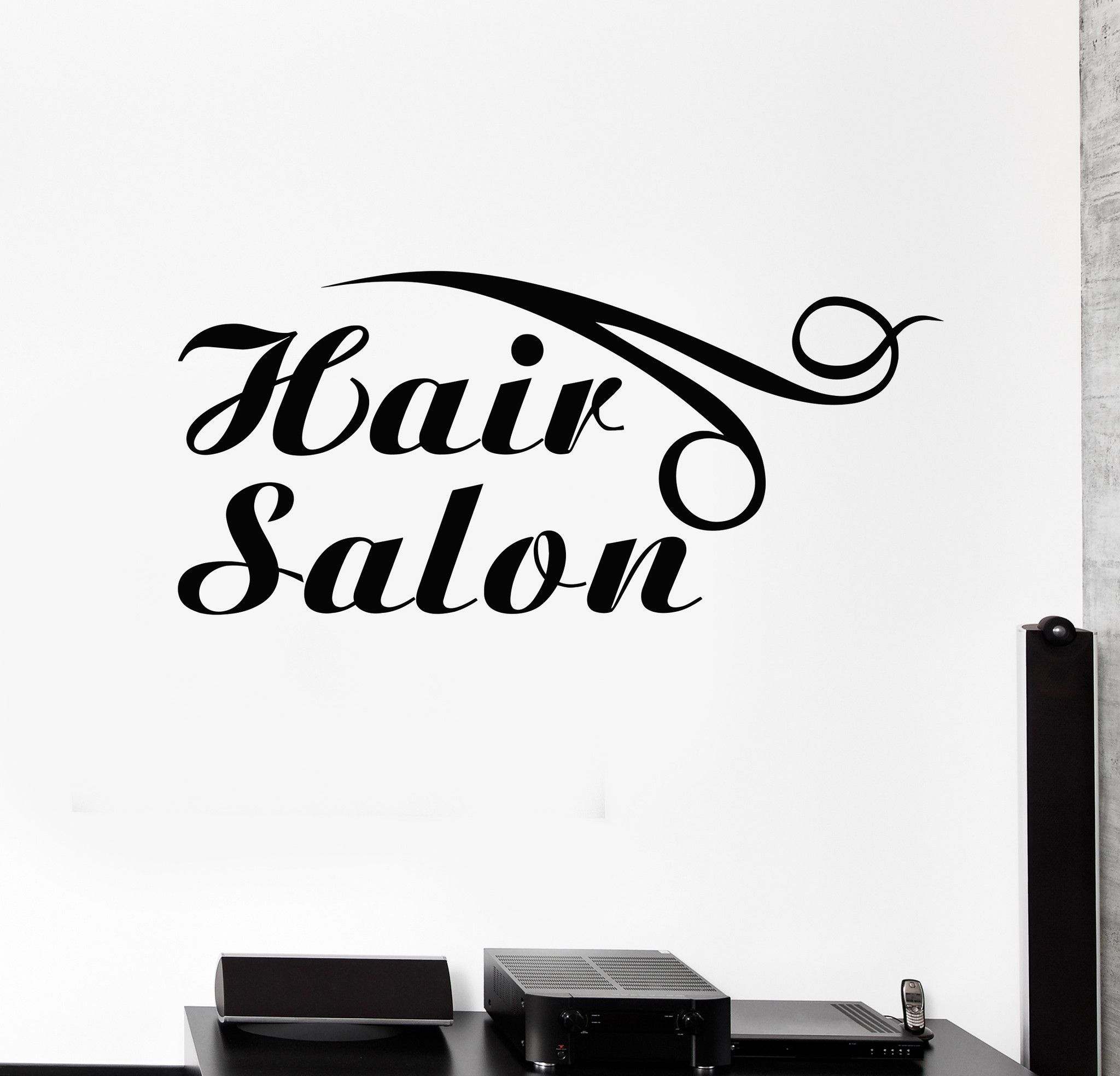 Vinyl wall decal hair salon logo hairdresser barber shop for Stickers salon design