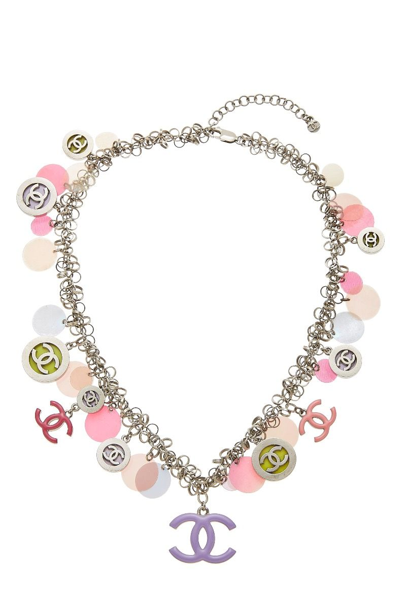 Chanel Silver Pink Charmy Necklace